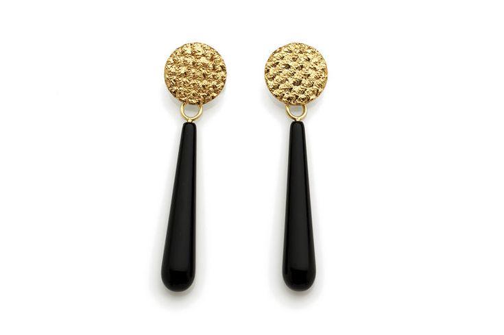 Gold Crochet Onyx Drop Earrings - product image