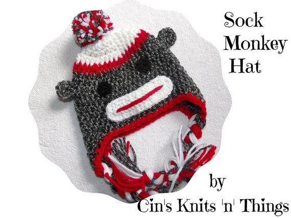 Sock Monkey Hat Baby Sock Monkey  Hats for by CinsKnitsnThings