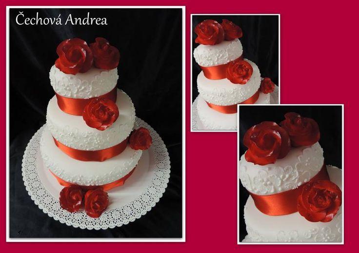 wedding cake red rose ,  svatební dort červené růže