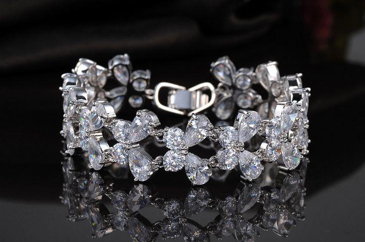 Platinum Plated Butterfly Sideways Cross Bracelet
