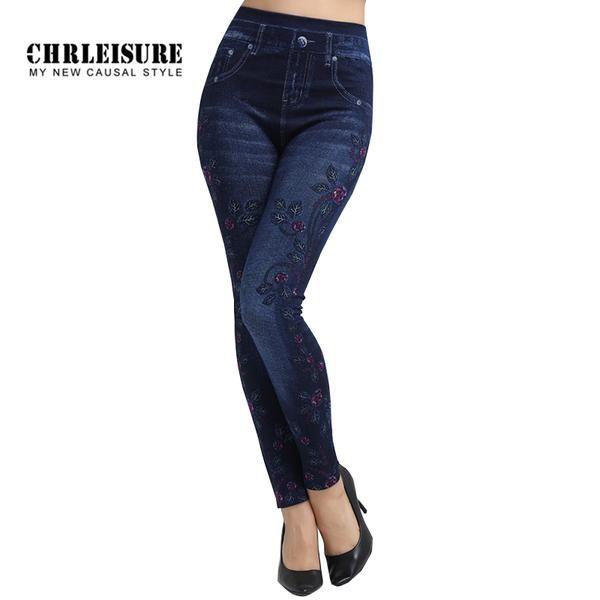 #FASHION #NEW CHRLEISURE Flowers Print Denim Leggings Women Fashion Blue Slim High Waist Elasticity Large Size Jeans Leggings Jeggings Pants