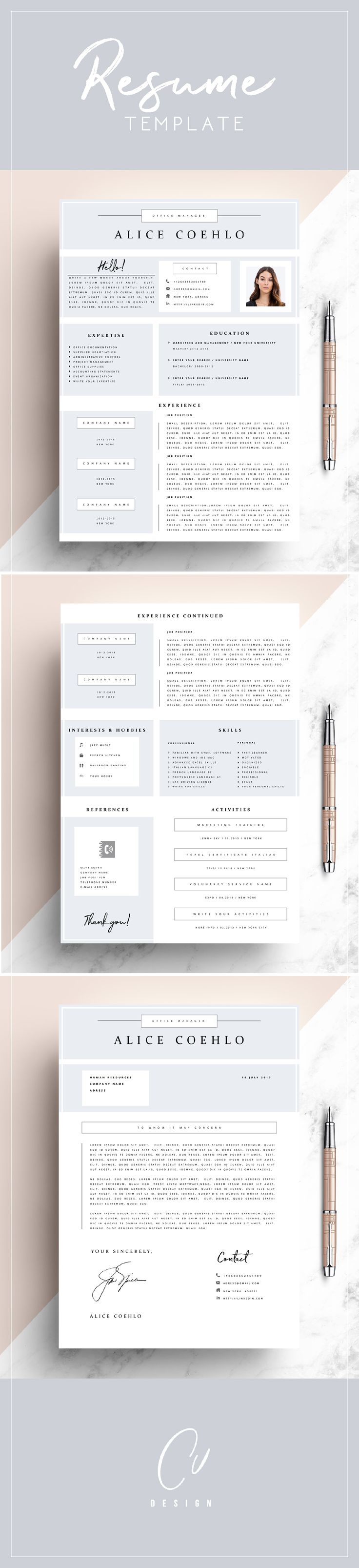 professional resume template cv template editable in ms word and pages instant digital download size a4 and us letter