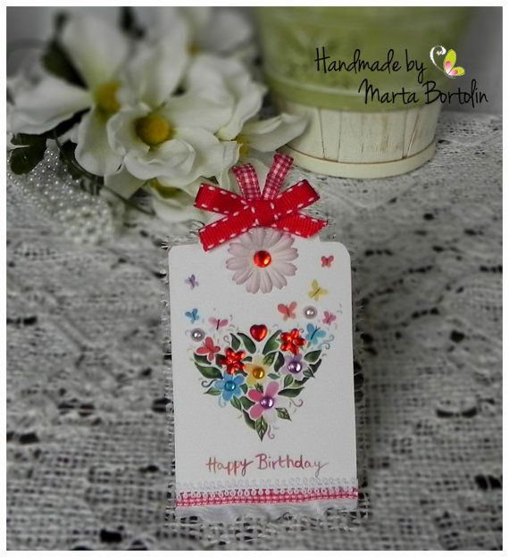 Happy Birthday Tag Card  Birthday Card  Tag card by tracesofcrafts