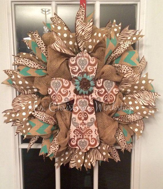 burlap cross wreath www.facebook.com/mrschristmasworkshop