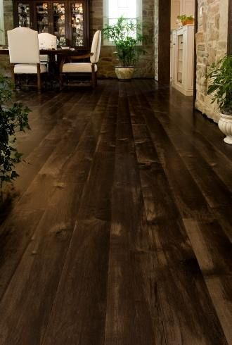 15 Wood Flooring Ideas - love the dark wood