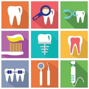 Jogo dos elementos planos sobre dentistas