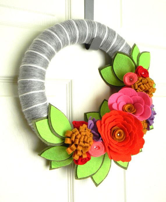 Melon Blooms 12  inch Felt and Yarn Wreath by EllaBellaMaeDesigns, $38.00