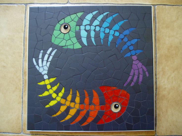 Fishes   Emilie Ollier Mosaic made for the book of Muriel Ligerot. 30cmx30cm, vitreous tiles, emaux de briare.