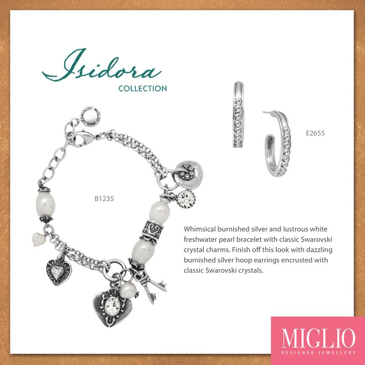 Whimsical burnished silver and lustrous white freshwater pearl bracelet with classic Swarovski crystal charms finished with classic Swarovski crystal hoop earrings.