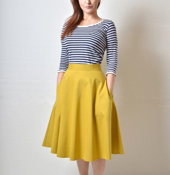 Midi skirt  Yellow Mustard skirt High Waisted by atelierMANIKA