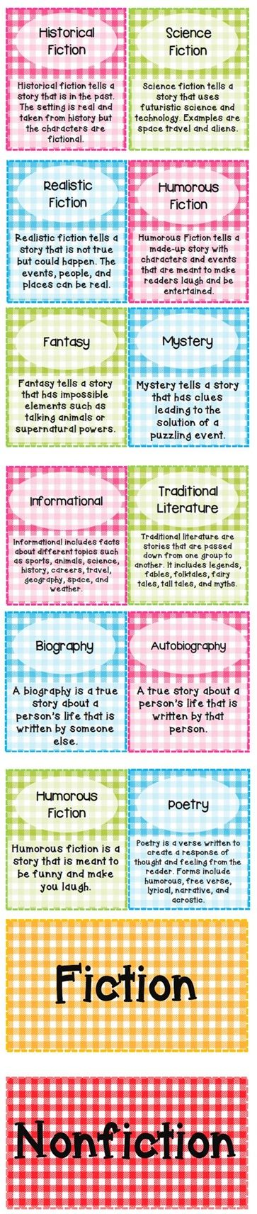 Gingham design genre labels for classroom library. Free at TPT