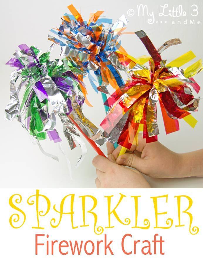 Here's a fun, kid-safe Sparkler Firework Craft.