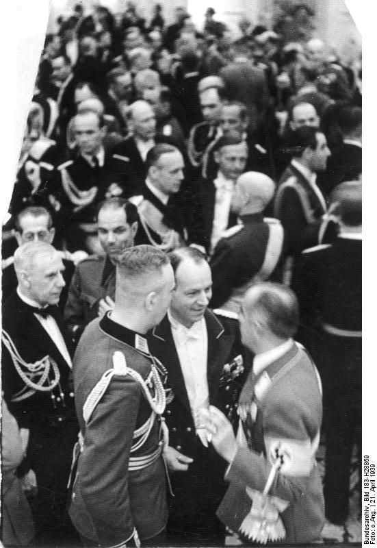 German Admiral Wilhelm Canaris, German Minister Joachim von Ribbentrop, Lithuanian General Stasys Rastykis, Hans von Tschammer und Osten, and others at Hotel Kaiserhof in celebration of Adolf Hitler's birthday, Berlin, Germany, 21 Apr 1939