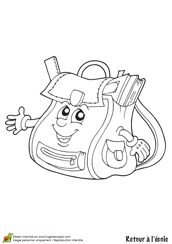 7 best cartable images on pinterest coloring pages back - Dessin cartable maternelle ...
