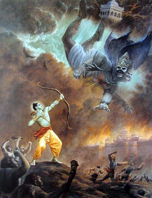 Lord Ramacandra kills the demon Ravana