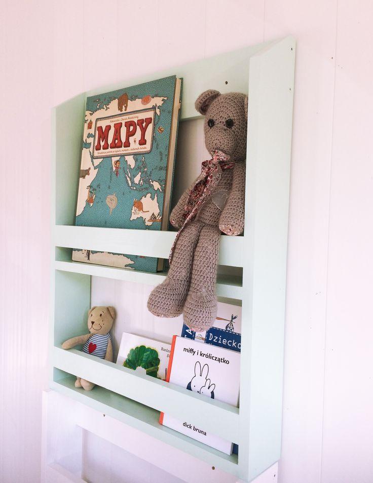 Półka na książki – biblioteczka mała wąska   Tere fere kuku… Wooden shelf bookshelf mint