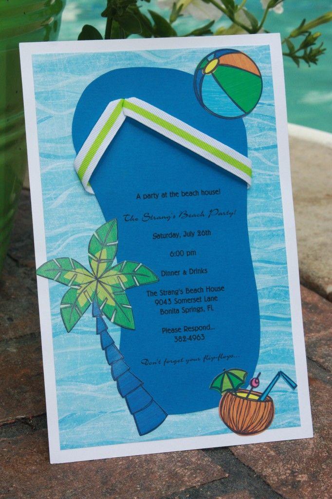 homemade invitations-beach party1