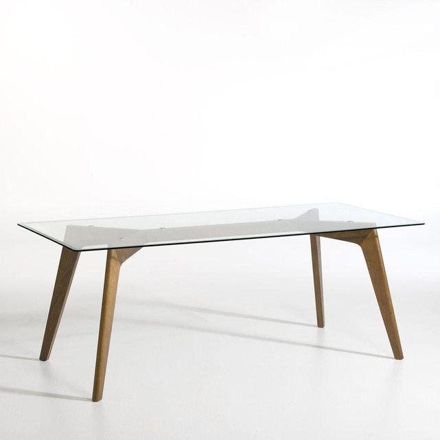 Table Kristal verre et noyer AM.PM : prix, avis & notation, livraison. Table avec plateau en verre trempé et piétement en noyer.Le plateau en verre de cette table souligne son piétement élancé et graphique.Dimension de la table : longueur 200 x largeur 90 x hauteur 75 cm.