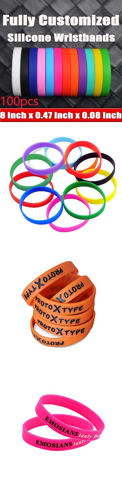 Wristbands 112603: 100Pcs Sports Silicone Rubber Bracelet Adult Wristbands Custom Design Wrist Band BUY IT NOW ONLY: $44.26