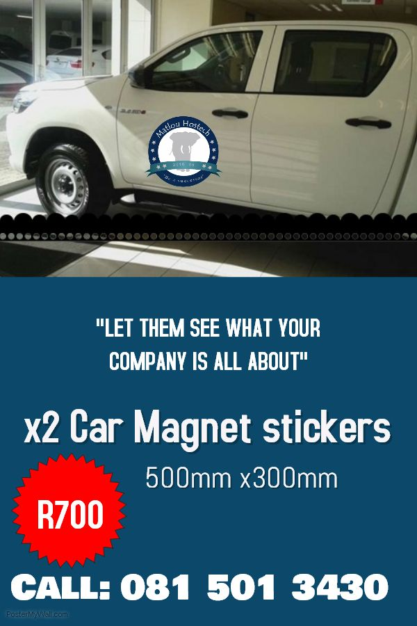 Two Car Magnet stickers!!! 500mm x300mm