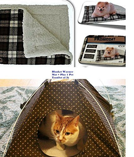 Portable Tent Bed for Pets With Cushion Warmer Mat Sleep Dog Cat Crate House Winter Warm Cozy Soft Comfort Dog Cot Canopy Camping Bed Pop Up Holiday Season Indoor