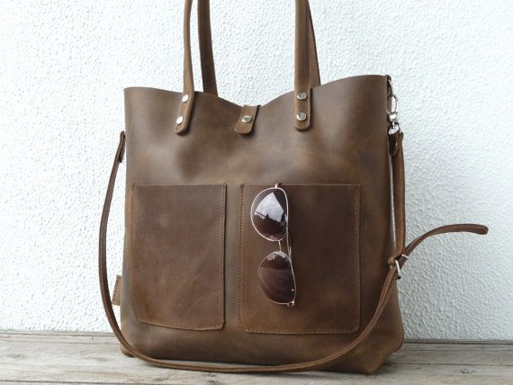 Leather tote large leather tote big leather by SanumiLeatherGoods