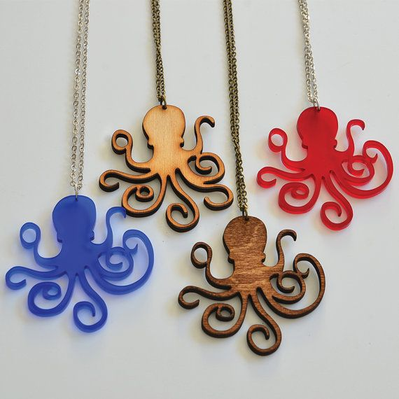 Octopus Silhouette Necklace Handmade  Laser Cut by UnpossibleCuts, $19.95