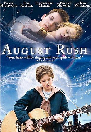 August Rush [PN1995.9.M45 A94878 2008]  A charismatic young Irish guitarist and a sheltered young cellist have a chance encounter one magical night above New York's Washington Square. They are soon torn apart, leaving in their wake an infant, August Rush, orphaned by circumstance. Now performing on the streets of New York City and cared for by a mysterious stranger, August uses his remarkable musical talent to seek the parents from whom he was separated at birth.