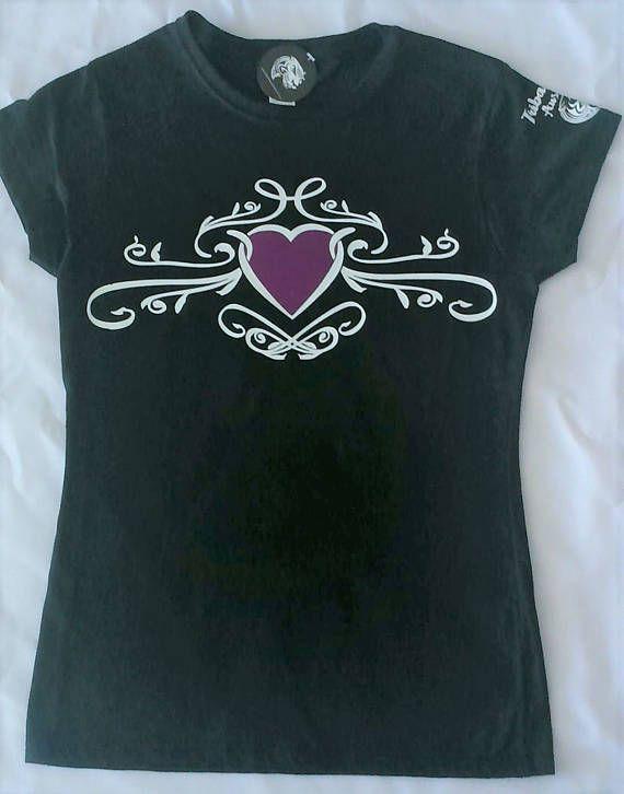 Women's Ladies Graphic Tribal T/Shirt (Purple Heart Flourish) - Tribal - Tribal Tee - Tribal style - Tribal wear - Tattoo graphic - vinyl