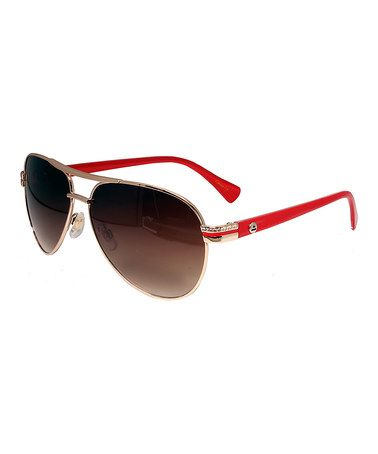 Look at this #zulilyfind! Red & Gold Aviator Sunglasses by Big Buddha #zulilyfinds