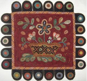 Contemporary Hooked Center Penny Rug