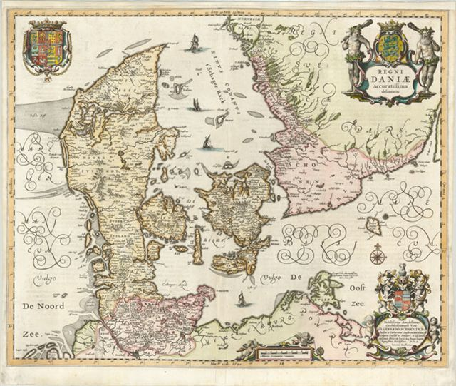 A copperplate engraving in original color with a blank cartouche at the lower left. This map, with van den Keere's signature; first appeared in Jansson's Atlas Maioris Appendix of 1630. The map