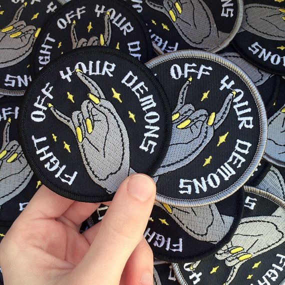 Fight Off Your Demons embroidered patch by Life Club. Fight off your demons. The…