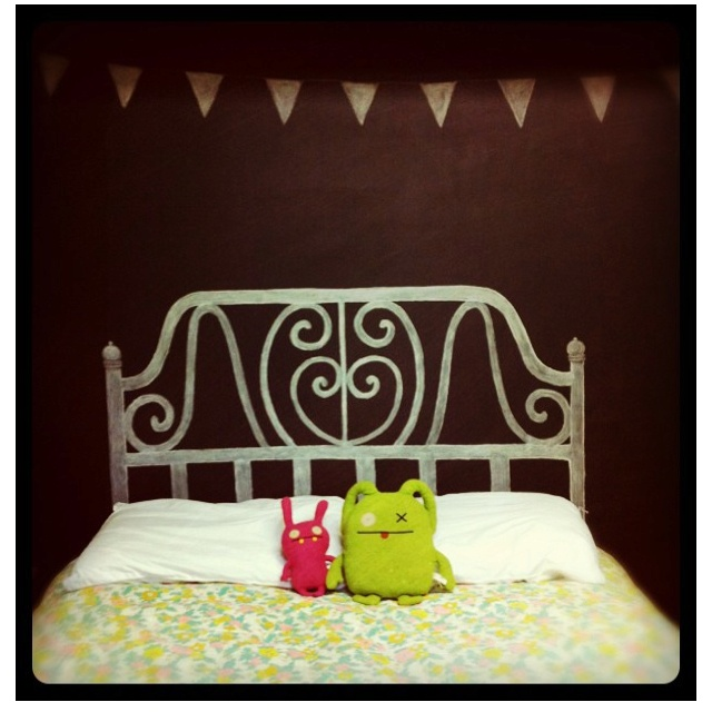Chalkboard headboard and print above for Cadys room. Yes!