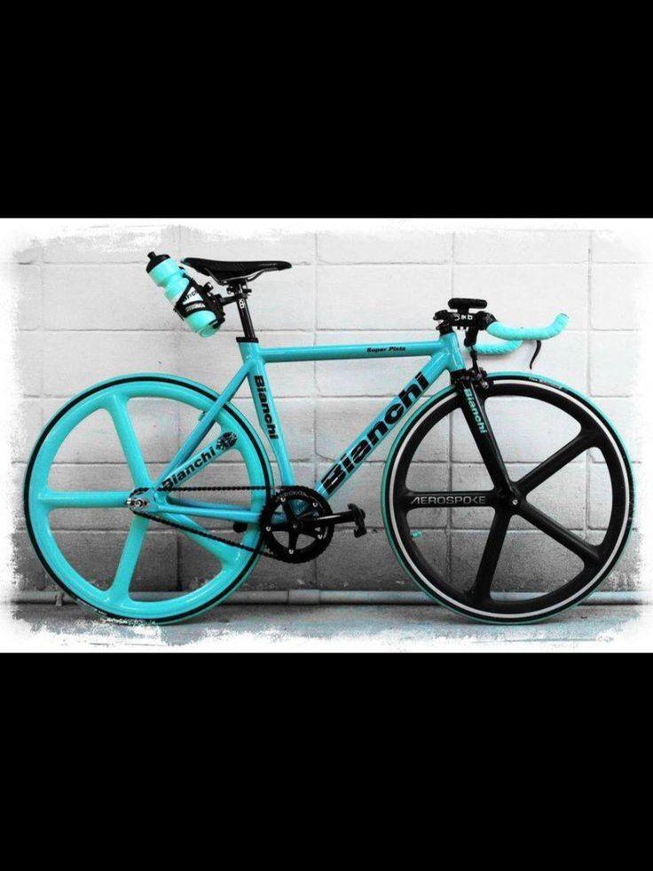Aqua and black bike