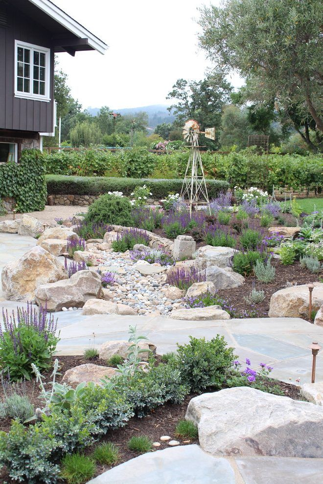 diy dry creek beds landscape mediterranean with perennials copper path lights