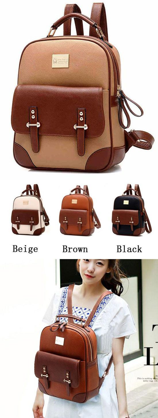 British Preppy Retro Brown Leather School Backpacks for big sale! #Backpack #school #college #brown #british #girl