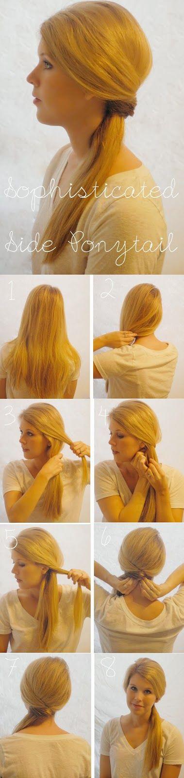 Tutorial : Faire une queue de cheval sur le coté - Sophisticated Side Ponytail Hair Tutorial