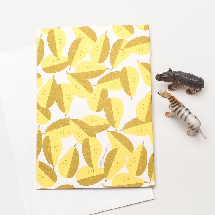 "Greeting Card + Envelope/A6 Jessica Nielsen Onnittelukortti  Kirjekuori ""Pear"""
