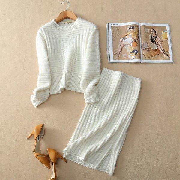 Белый классический женский костюм вязаный в интернет-магазине Шопоголик