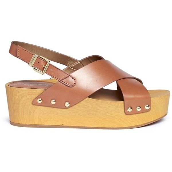 Sam Edelman 'Bentlee' leather wooden clog platform sandals (155 CAD) ❤ liked on Polyvore featuring shoes, sandals, brown, wooden clog sandals, brown platform sandals, leather platform sandals, brown leather sandals and wooden wedge sandals