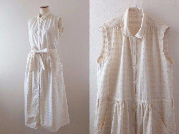当お洋服をご覧頂き、誠にありがとうございます。白色に近い優しいベージュに、可愛らしい花が刺繍された、普通地よりやや薄いコットン100%の生地です。羽織物やインナーをあわせて、色々なコーディネイトを楽しんで頂けるワンピースでございます。***ワンピース寸法(平置き採寸)*****・着丈:115㎝(プラス10㎝まで伸ばすお直し可能です。)・肩幅:37㎝・バスト:102㎝・袖ぐり一周:47㎝・裾周り:160㎝・サイズ:M~L・ポケット:あり(2っ)・布ひもベルト:あり***********************・着丈のお直し:可能でございます。  (伸ばす場合:+10cmまで伸ばせます。)(短くする場合:メッセージにて、着丈をご指定くださいませ。)(着丈ご指定が無い場合:115cmでのお届けでございます。)  *****************・素材:綿100%・透け感:柄・濃い色インナー共に透け感あり。・お洗濯方法:洗濯機にて、おしゃれ着洗い(ネット使用)