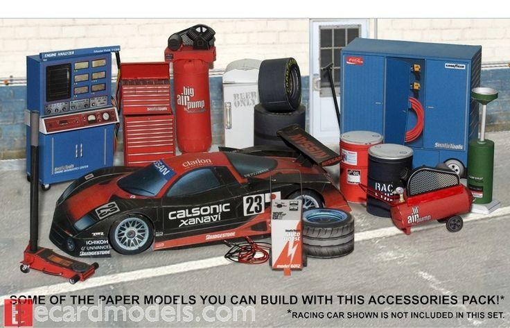 118 Automotive  Garage Diorama Accessories Paper Model  Paper