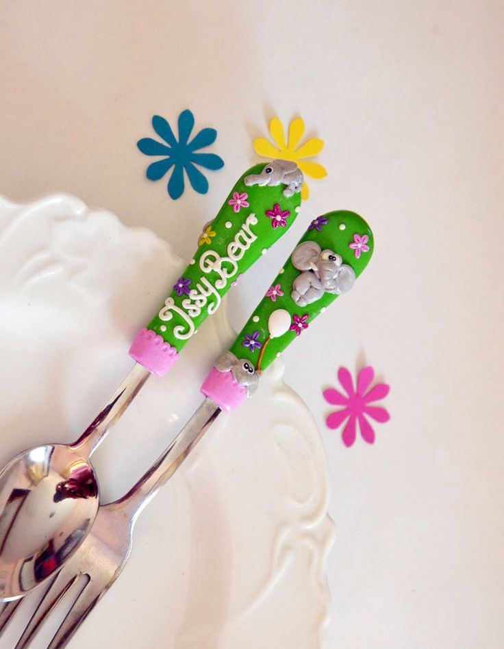Excited to share the latest addition to my #etsy shop: Elephant Baby Shower Gift for Kids Cutlery Set Children Unique for Kids Birthday Polymer clay Silverware Set RadArta