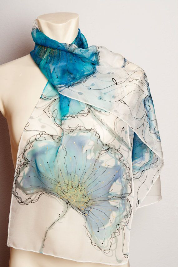Unique Hand Painted Real Silk  Chiffon Scarf with Blue Poppies Black and White Fashion Gift READY TO SHIP via Etsy