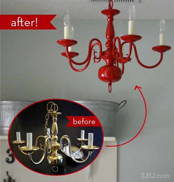Changing lighting and color can change the feng shui of an entire room. Cool way to add color & to transform tacky old light fixtures! How To: Transform an Old Chandelier #diy #decor