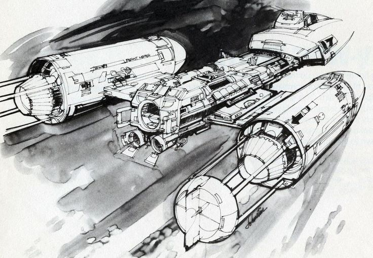 Early drawing of the Y-Wing by Joe Johnston @jjsketchbook. From the Star Wars Sketchbook