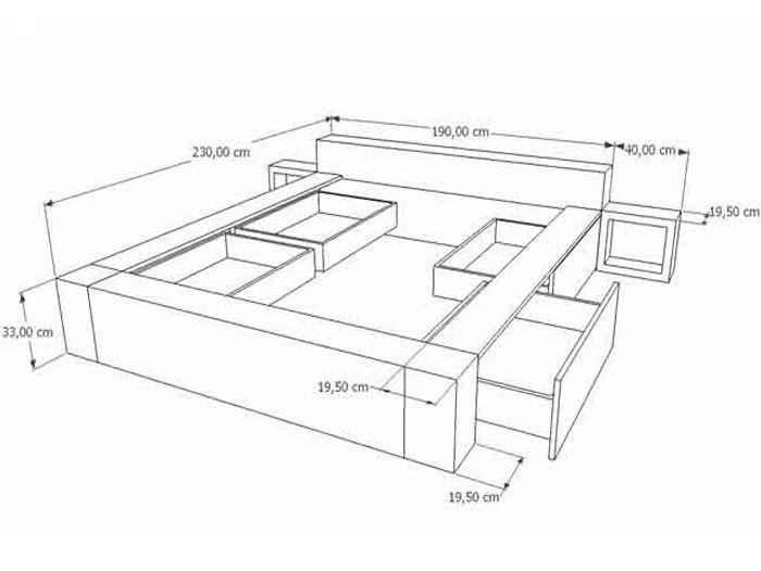 dibujo 3d cama doble con cajones, mesitas de noche y cabezal