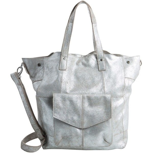 Pieces Vanity Leather Tote Bag, Silver (€160) ❤ liked on Polyvore featuring bags, handbags, tote bags, leather tote purse, silver tote bag, man bag, silver tote and leather purses