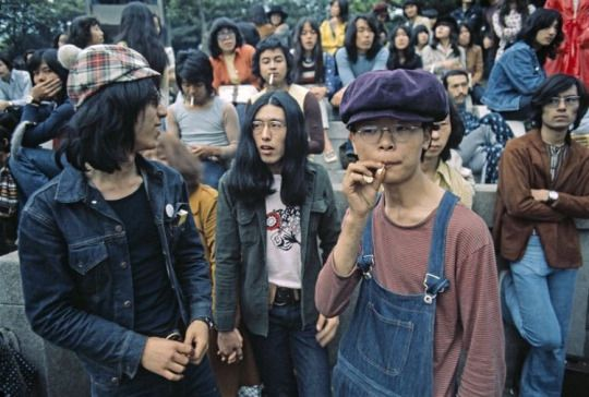 Young Japanese at local pop concert, Tokyo, 1971.